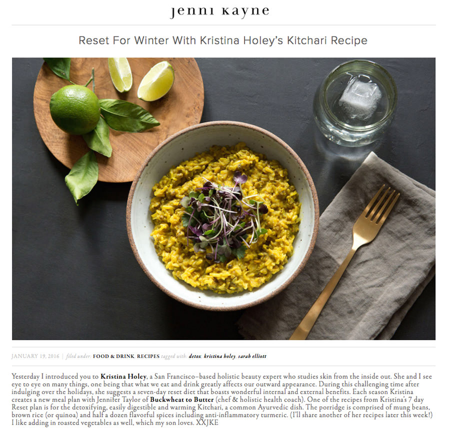 Rip + Tan presents a recipe for easily digestible and warming Kitchari, a common Ayurvedic dish. Each season Kristina Holey creates a new meal plan with Jennifer Taylor of Buckwheat to Butter (chef & holistic health coach).