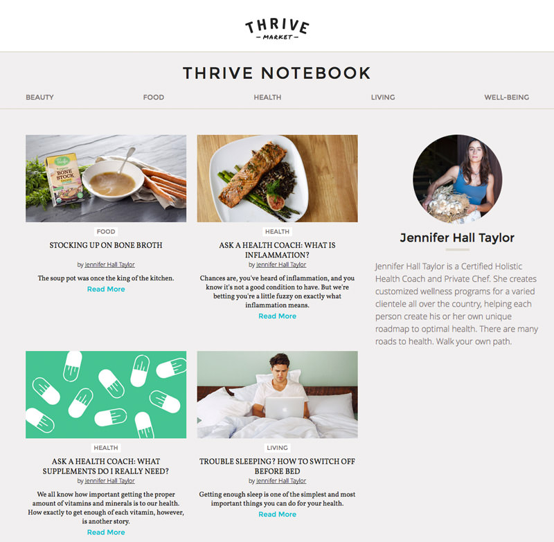 Certified Holistic Health Coach and Private Chef Jennifer Hall Taylor shares nutrition and health tips on Thrive Market's Notebook