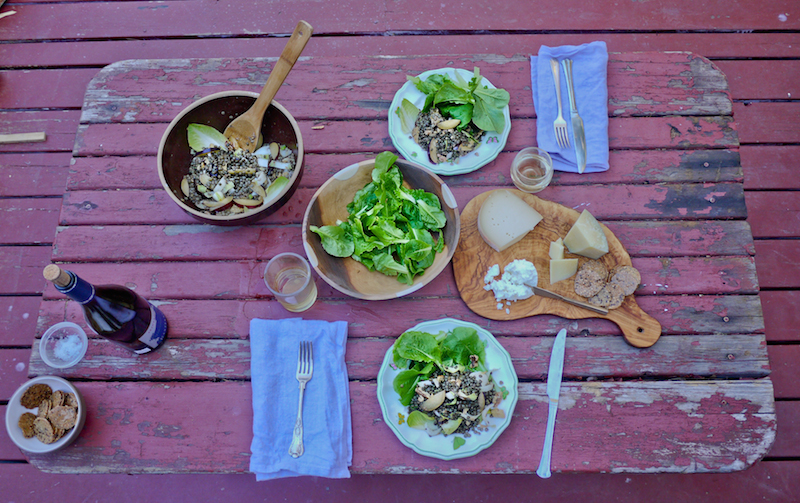 lentils, lettuces, very good cheese