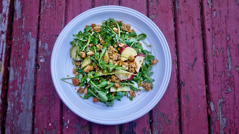 yam & arugula salad with savory granola