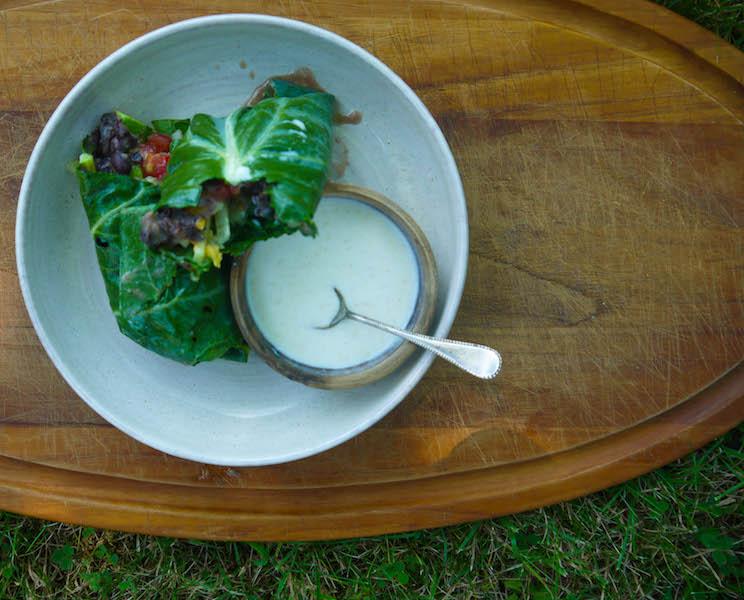 big leaf veggie wrap with spiced yogurt